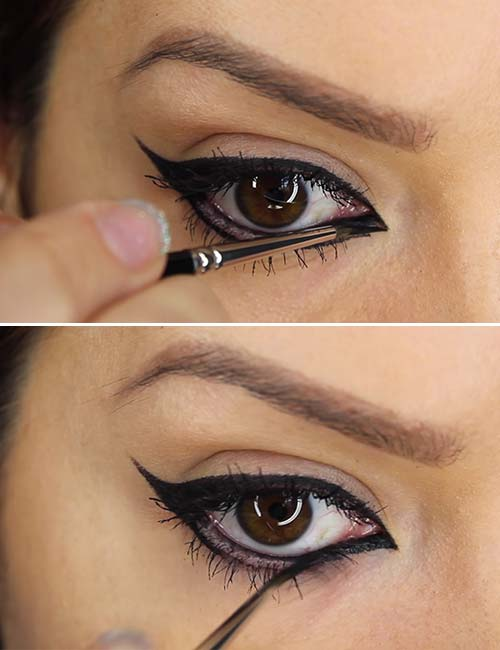 how to apply liquid eyeliner with a brush